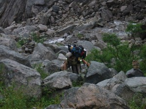 Struggling up the Chilkoot Pass on Day 3